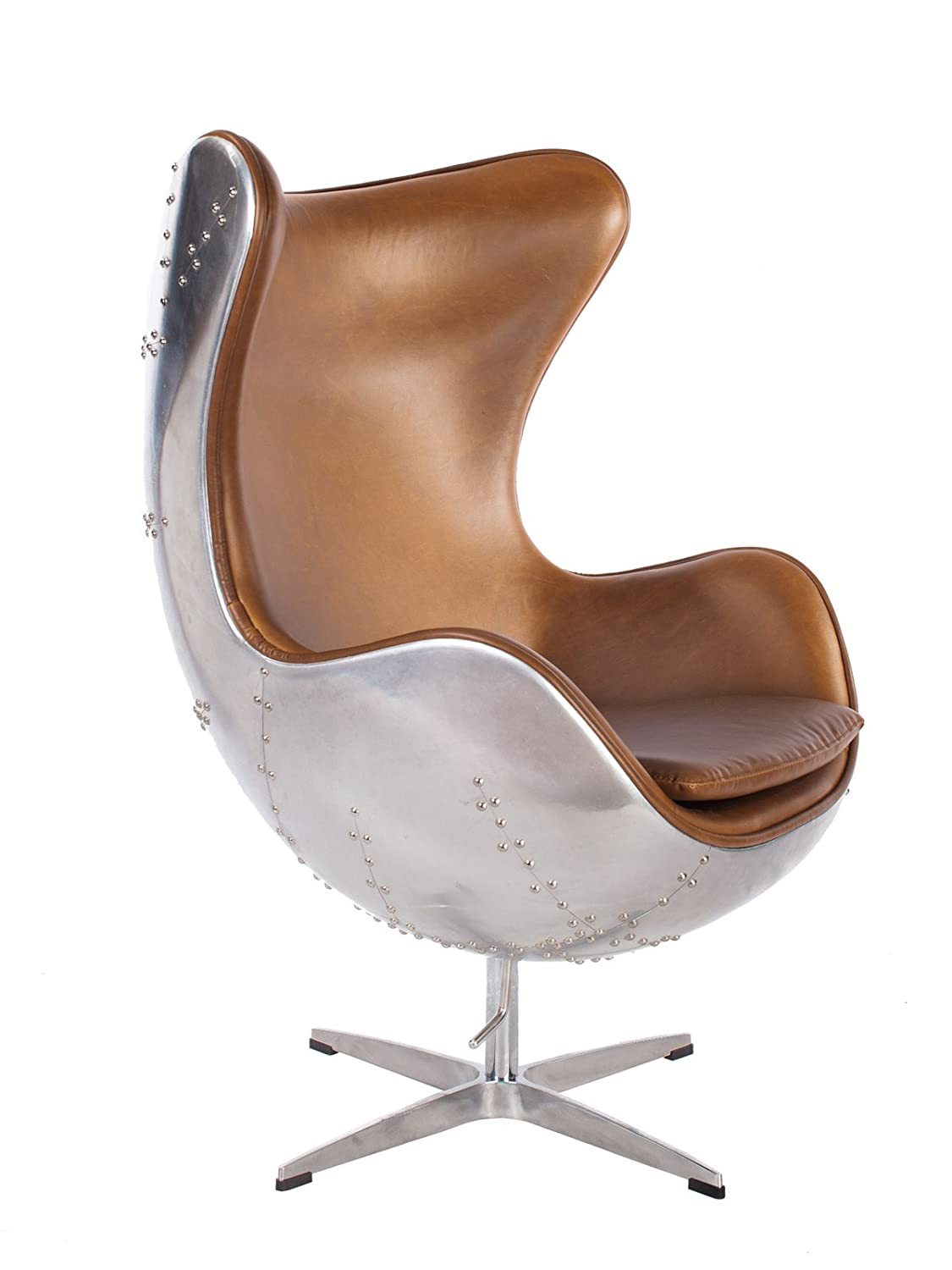 Midcentury style leather and aluminum egg chair.