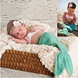 Sunbaby Newborn Photography Props Baby Knitting Wool Material Photography Costume Cute Animal Style Baby Crochet Clothes (Light Green Mermaid)