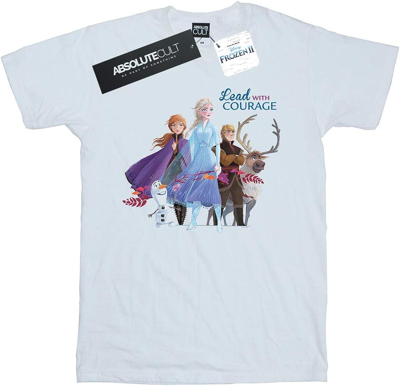 Disney Ni/ñas Frozen 2 Lead with Courage Camiseta Blanco 3-4 Years
