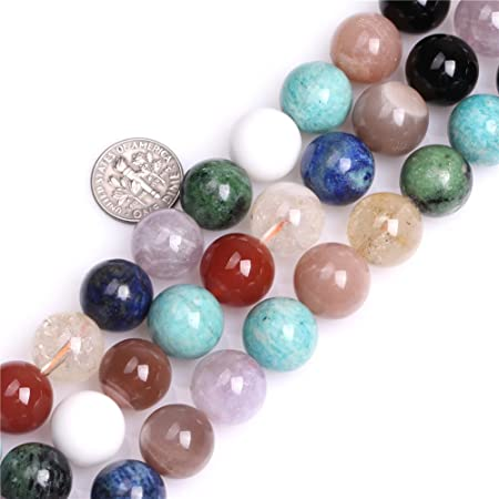 14mm Natural Multicolor Mixed Stone Gemstone Semi Precious Round Beads for  Jewellery Making
