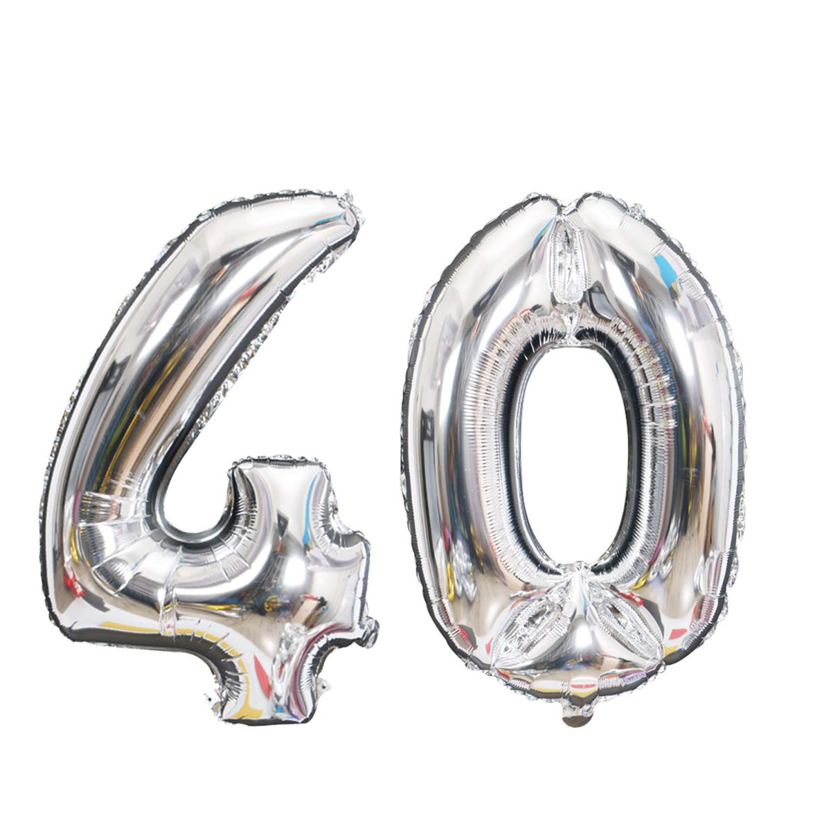 Meowoo Globo de Cumpleaños 40 Globo de Papel de Aluminio Globo Grande 100cm 40 Pulgada Fiesta de cumpleaños Suministros Decoración (Plata Num 40)