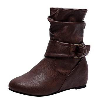 LuckyGirls Botas de Media Caña para Mujer Hebilla Botitas Botín Botas de Nieve Moda Zapatos Aumentó 5cm Cuñas: Amazon.es: Deportes y aire libre