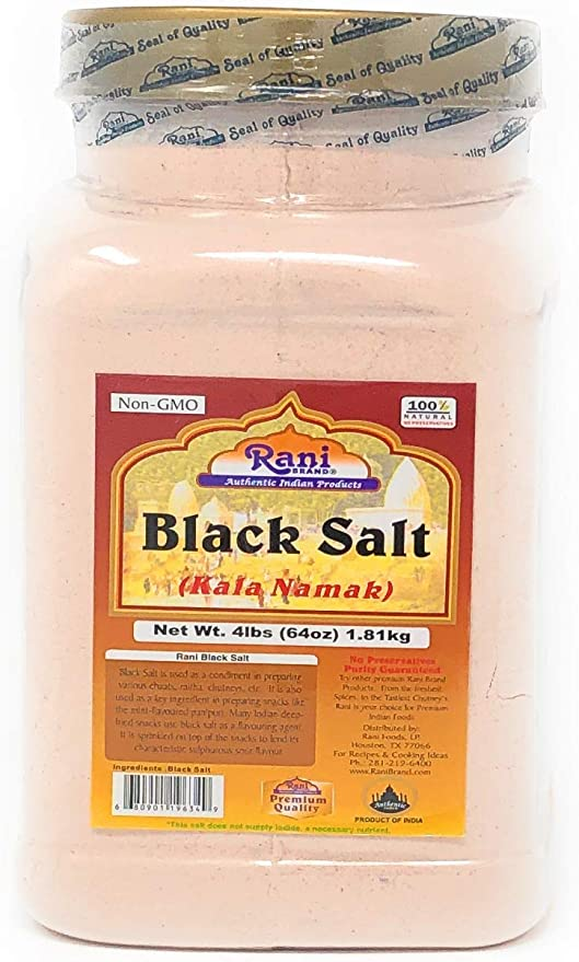 Rani Brand Authentic Indian Products Negro sal (sal negra) Red. En peso. 4 libras (64 oz)