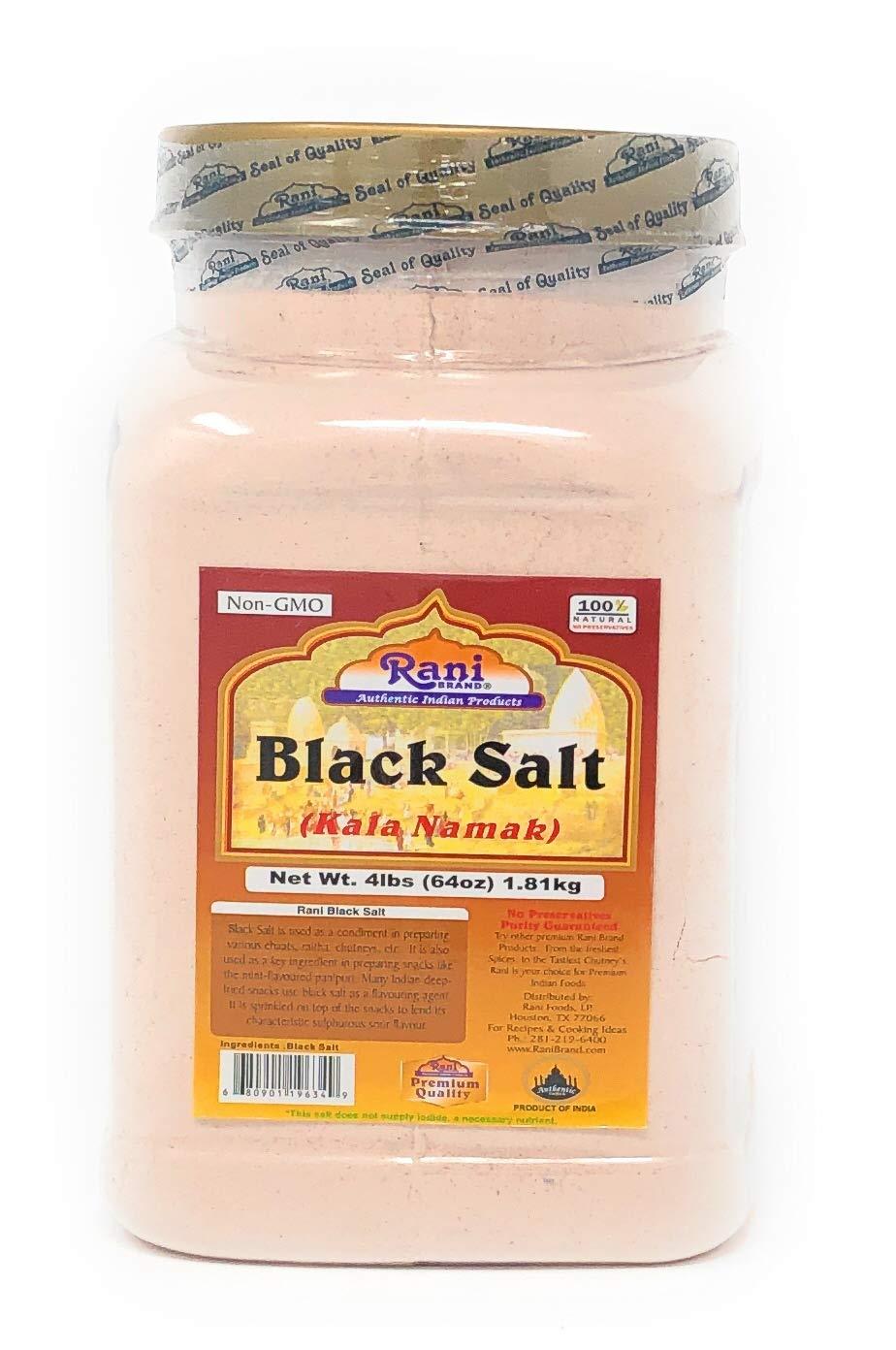 Rani Black Salt (Kala Namak Mineral) Powder, Vegan 4lb (64oz) ~ Bulk, Unrefined, Pure and Natural | Gluten Free Ingredients | NON-GMO | Indian Origin | Perfect for Tofu Scramble - Natural Egg Taste