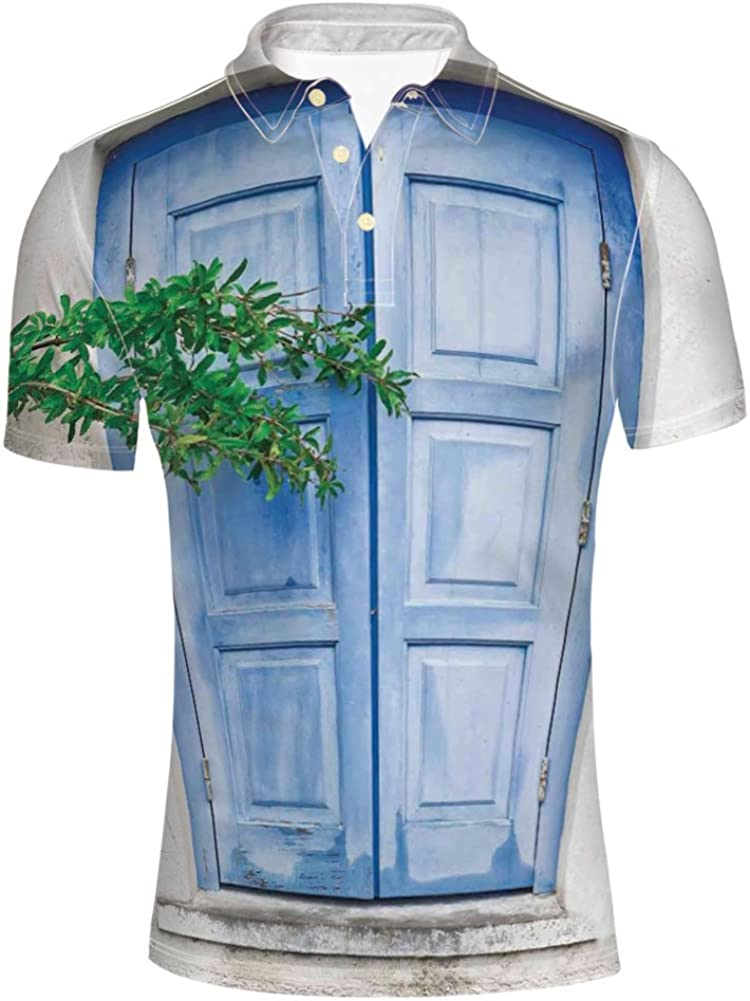 iPrint Adult Mens Image Garden an Old House Closed Window Polo Shirt
