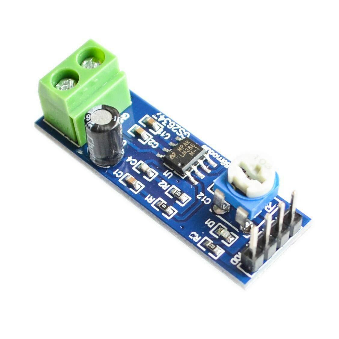 TECNOIOT 5pcs LM386 Audio Amplifier Module 200 Times 5V-12V Input 10K Resistance