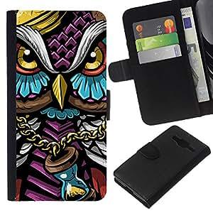 LECELL--Cuero de la tarjeta la carpeta del tirón Smartphone Slots Protección Holder For Samsung Galaxy Core Prime -- Colorido Búho Gangster --