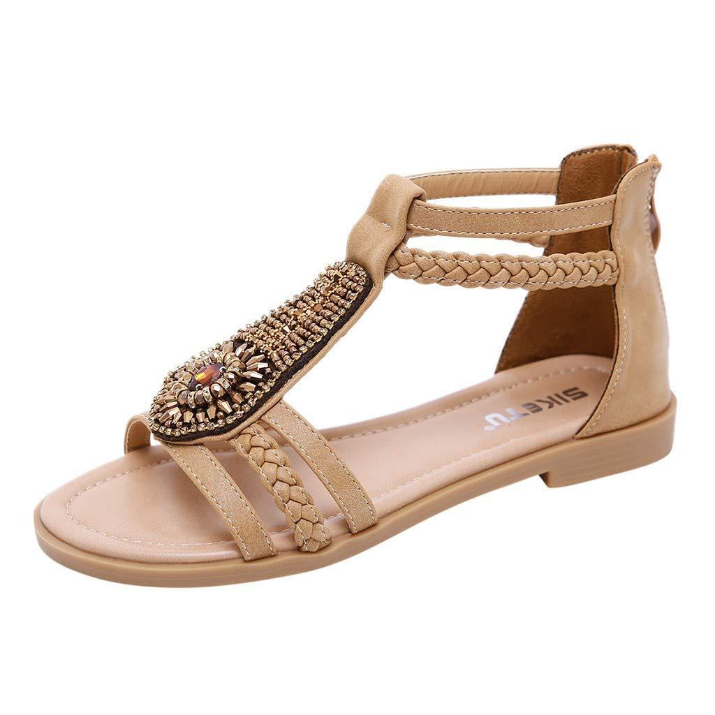 WILLTOOGood Value!!Women's Retro Bohemia Roma Shoes Sandals,Charming Crystal Zipper Summer Casual Shoes Khaki