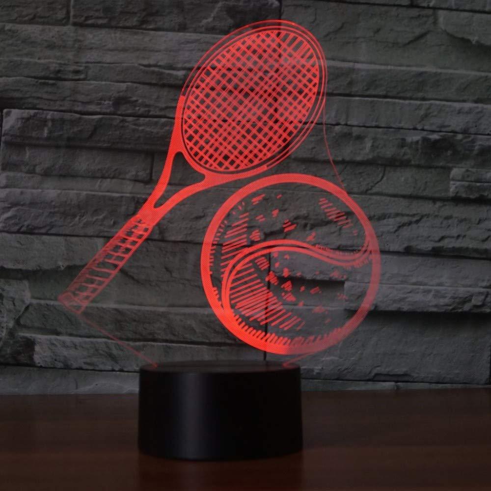 7 Farbwechsel Usb 3D Visuelle Tennis Modellierung Nachtlicht Schreibtischlampe Led Dekor Schlaf Luminaria Leuchten Tennis Fans Geschenke