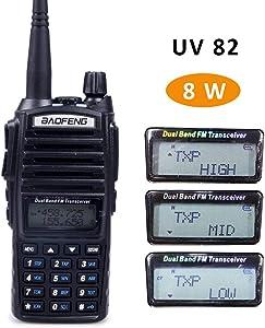 Baofeng UV-82 High Power Tri-Power 8/4/1-Watt Dual Band VHF 136-174MHz/UHF 400-520MHz Portable FRS Radio Two-Way Radio