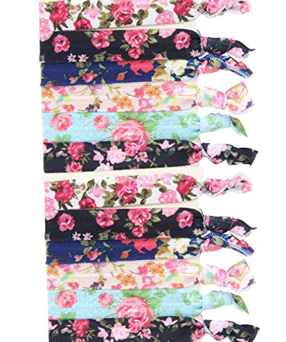 No Crease Elastic Hair Styling Accessories Pony Tail Holder Ribbon Bands, Floral