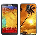 TopCaseStore / Snap On Hard Back Shell Rubber Case Protection Skin Cover - Sunset coconut Beautiful Nature 122 - Samsung Galaxy Note 3 N9000 N9002 N9005