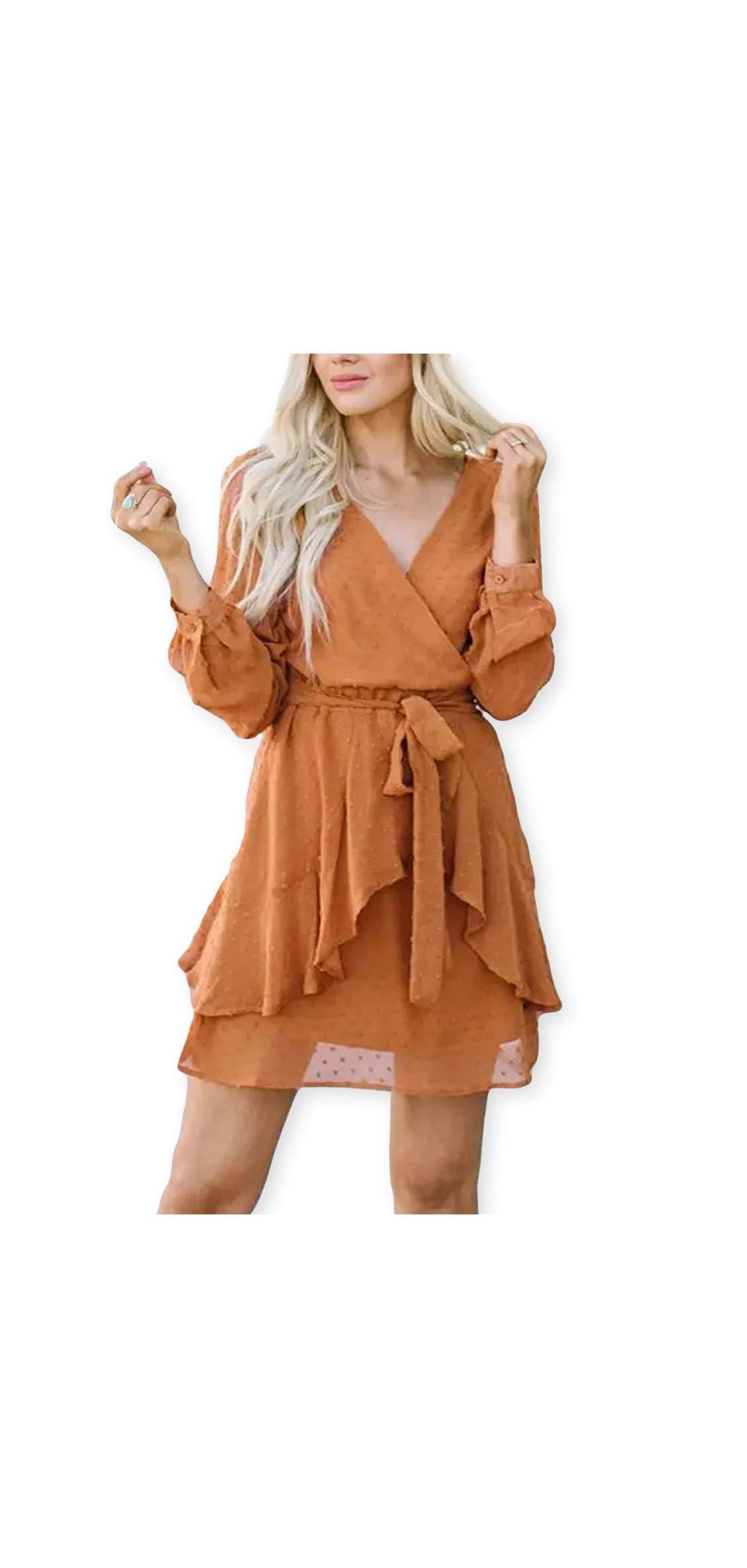 Women Cute V Neck Long Sleeve Mini Dresses Solid Polka