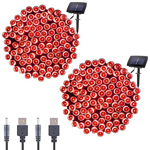 Qunlight Solar Fairy String Lights 72ft 200 LED Outdoor Waterproof USB Solar Powered 2 Modes with Timer Function Decorative Lighting for Patio Law Xmas Garden Homes Party Decore(Red 2pcs) ()
