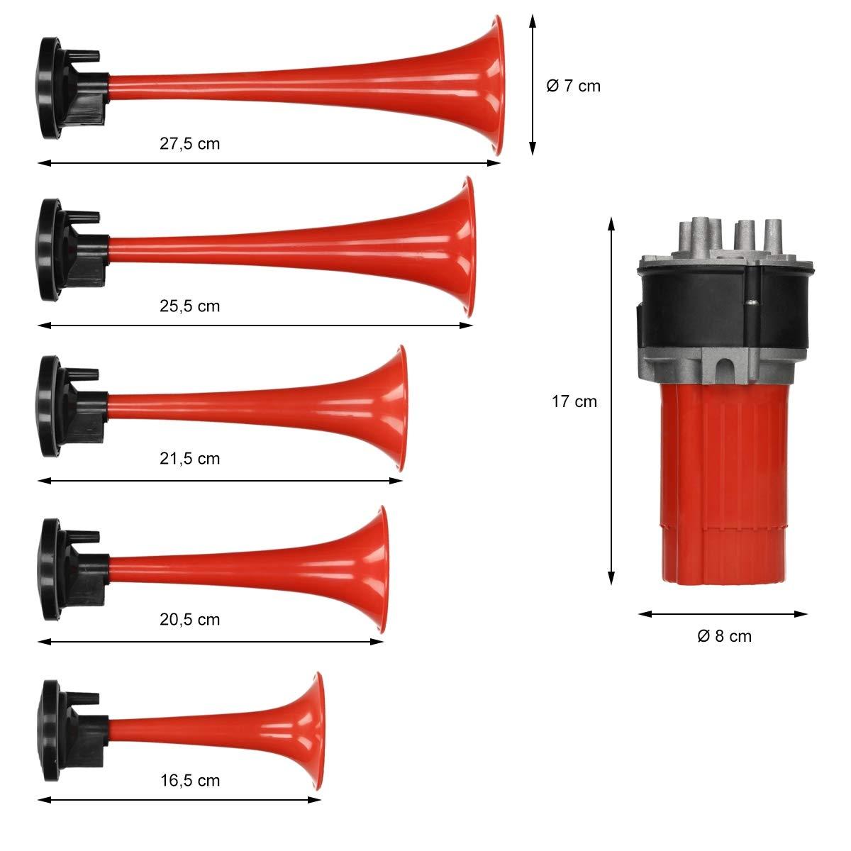 trompette horn avec compresseur pour v/éhicules ECD Germany 5 pcs 12V Klaxon Dixie /à air camions pour voitures bateaux 125 dB
