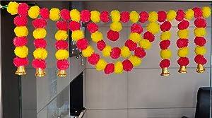 CraftVatika Marigold Fluffy Flower Garlands Toran Bandarwal with Hanging Bells Set for Main Door Wall Hangings Diwali Decoration Items Home Mandir Puja Decor