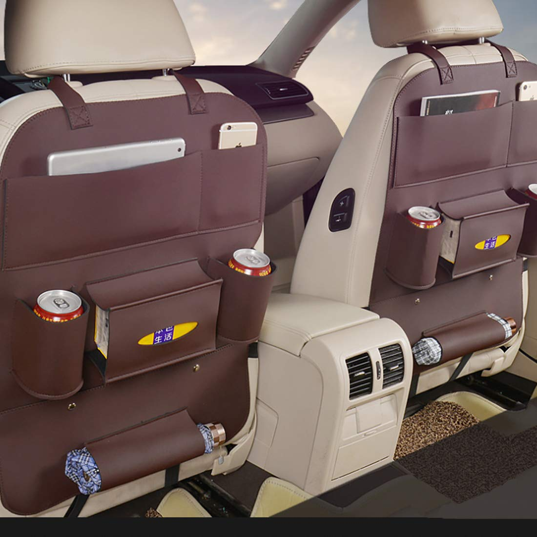 Car Back seat Organizer Protector,Universal use as car Backseat Organizer for Kids,Storage Bottles,Tissue Box,Toys-A