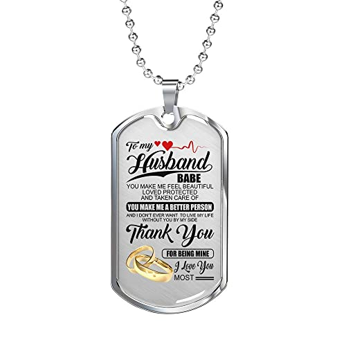 Amazoncom To My Husband Necklace Babe Thank You For Being Mine I