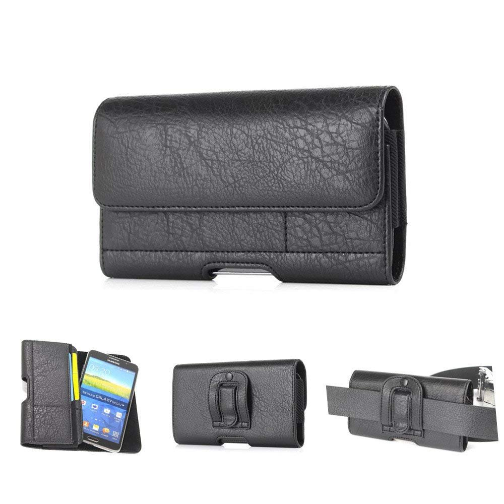 iPhone 8 Plus Smartphone Pouch,elecfan PU Leather Case with Credit Card Slots,Waist Pack Easy Carrying Bag with Belt Clip for iPhone 8/7/6S/6 plus, Most 5.5 Inch Cell Phones - Black