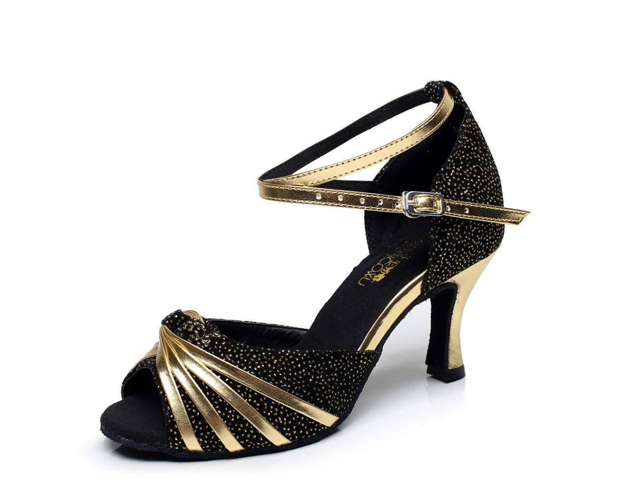 HhGold Latin Schuhe für Damen Glanz Salsa Tango Chacha Samba Modern Jazz Dance Sandalen Hohe Absätze Gold6cm-UK5.5   EU38   Our39 (Farbe   schwarz8.5cm Größe   UK4.5 EU36 Our37)