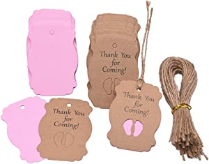100pcs Baby Shower Tags Kraft Paper Gift Tag,Baby Feet Shower and Party Favors Decoration with 66 Feet Jute Twine,Thank You Tags (Pink)