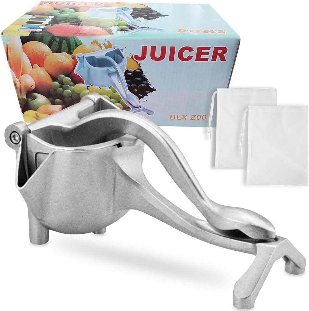Stainless Steel Manual Fruit Juicer Heavy Duty Portable Fruit Press Alloy Hand Juicer Squeezer Press Lemon Orange Juicer Fruit Citrus Extractor Tool,Silver