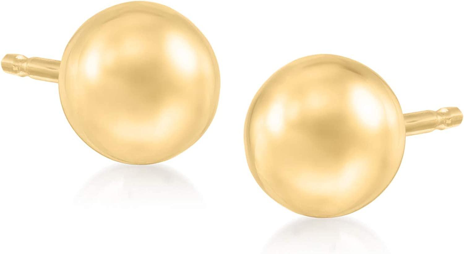 Engagement 6MM Ball Studs Earrings Wedding Gift Yellow Gold .925 Sterling Silver anniversary