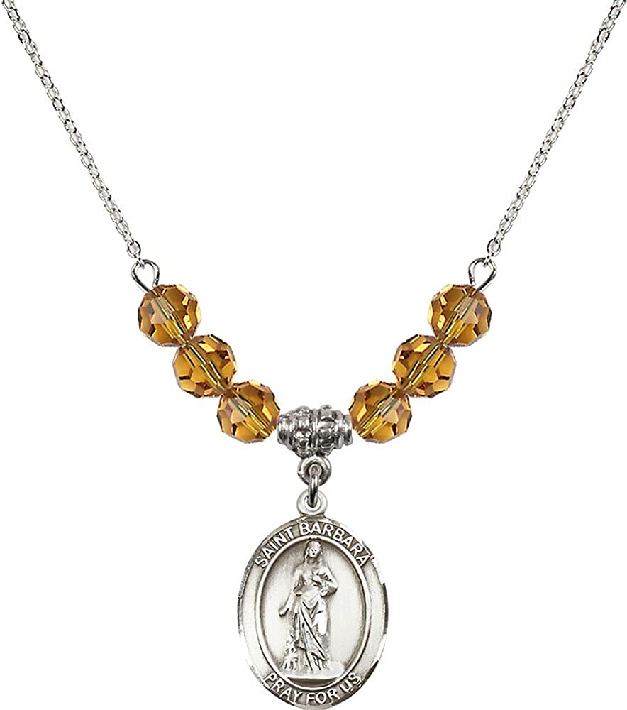 18-Inch Rhodium Plated Necklace with 6mm Topaz Birthstone Beads and Sterling Silver Saint Barbara Charm.