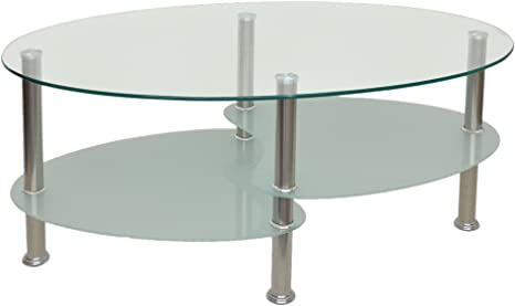Glass Coffee Table With Oval Shape With 8 Mm Tempered Safety Glass Amazon De Kuche Haushalt