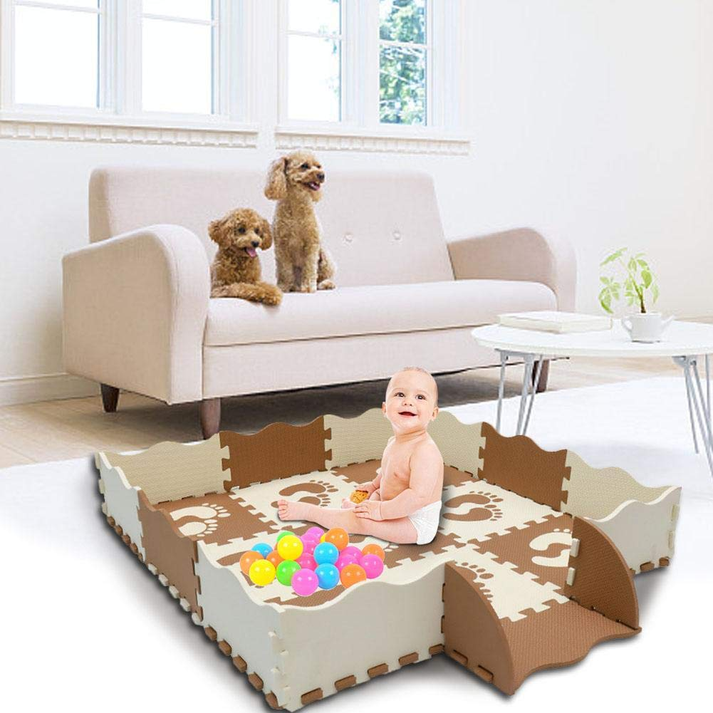 Baby Foam Play Mat with Fence 3 Interlocking Crawling Mat with 23 Foam Floor Tiles for Kids Toddlers Gym Mats Crawling Rug for Play Activity Center Playroom with Waterproof and Non-Toxic