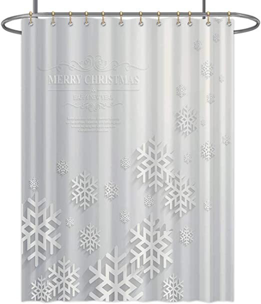 Merry Christmas and New Year Pink Balls Bathroom Fabric Shower Curtain 71In
