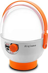 Aiqiano LED Camping Lantern,1000 Lumens Emergency Lights for Home Power Failure, 2400mAh Dimmable Rechargeable Flashlight Power Bank with 360° Rotatable Handle for Camping, Hiking, Emergency, Storm