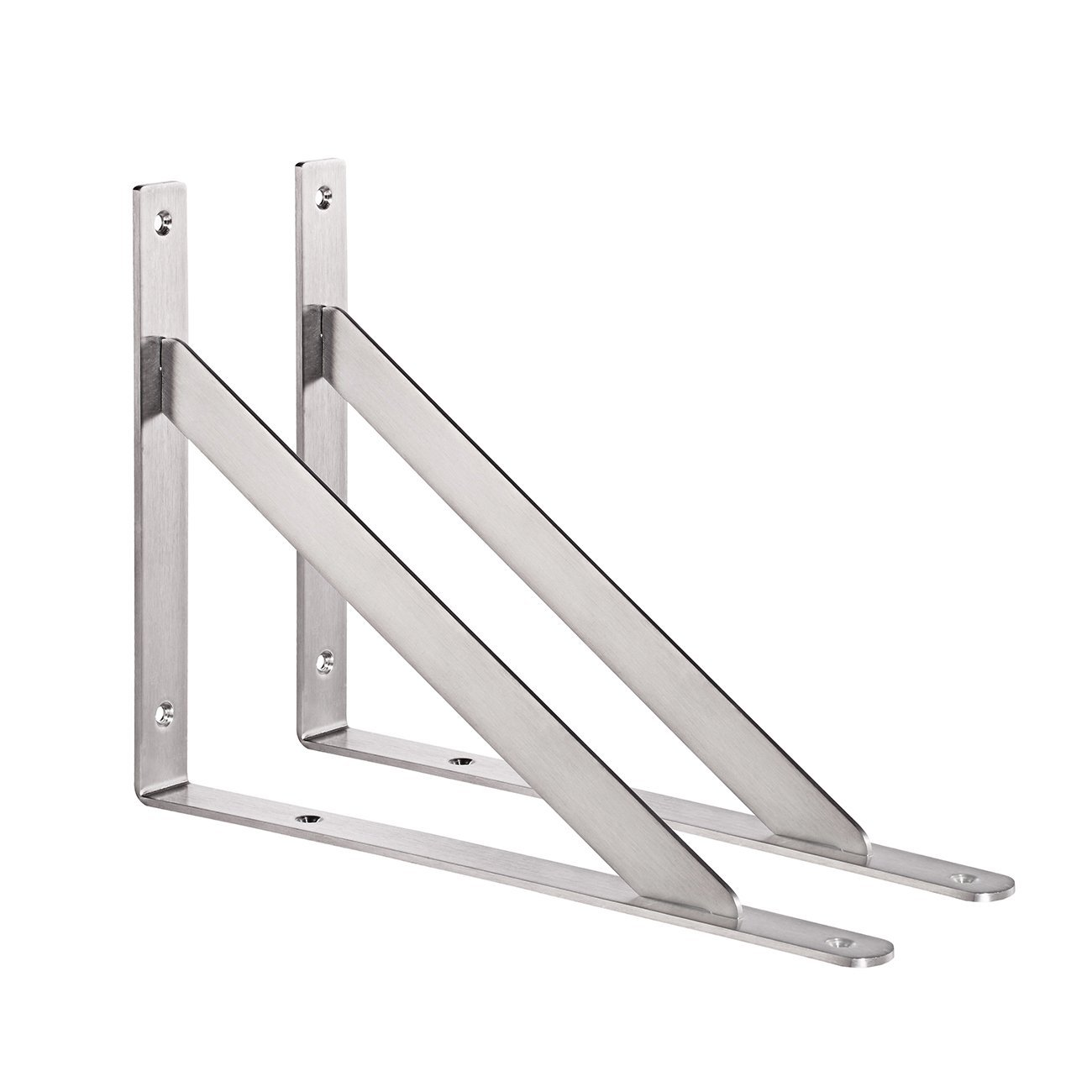 "YUMORE L Bracket, Heavy Duty Stainless Steel Solid Shelf Support Corner Brace Joint Right Angle Bracket, 14"" Pack of 2"
