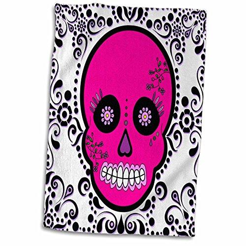 "3D Rose Day of The Dead Día de Los Muertos Sugar Skull Pink White Black Scroll Design TWL_28871_1 Towel, 15"" x 22"""