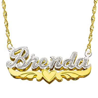 0ff18c23e211 14 K dos Tono Oro personalizada doble placa 3d nombre collar - estilo 8 -  personalizar cualquier nombre  Amazon.es  Joyería