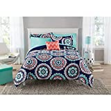 8 Piece Girls Navy Blue Coral Medallion Comforter With Sheet Queen Set, Teal Blue Color Mandala Bohemian Circular Pattern Reversible Kids Bedding, Transitional Geometric Themed Teen, Polyester