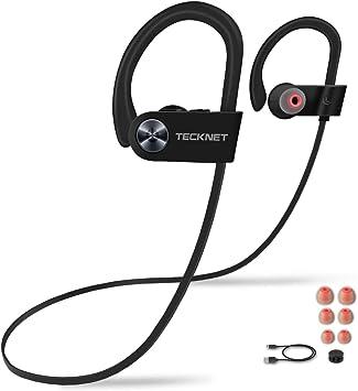 TECKNET Auriculares Bluetooth 4.1 con Micrófono Incorporado, Auriculares Deportivos Inalámbricos en la Oreja, Sonido Estéreo, IPX7 Resistente al Agua,