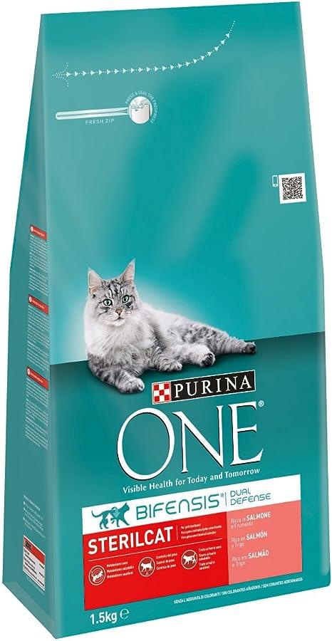 ONE Gatos Esterilizados Rico en Salmón y Trigo 1,5 Kg - 1500 gr ...