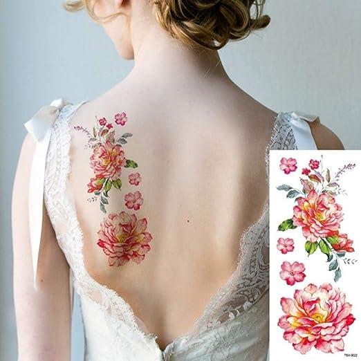 tzxdbh 3Pcs-Etiqueta engomada del Tatuaje Impermeable Hermosa Flor ...