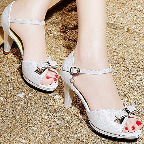 Moda Mujer verano sandalias confortables tacones altos,amarillo 36 White