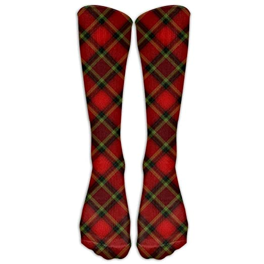 0ebcc05b2f2 redhearty Long Dress Socks Casual Black Red Tartan Sport Comfortable  Breathable Over-The-Calf