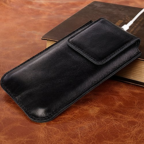 iPhone 7 Case, iPhone 8 Case, TOOVREN Men Leather Slim Cell Phone Sleeve Cover with Magnetic Clip for Apple iPhone 7 (2016) / iPhone 8 (2017) -Black by TOOVREN (Image #5)