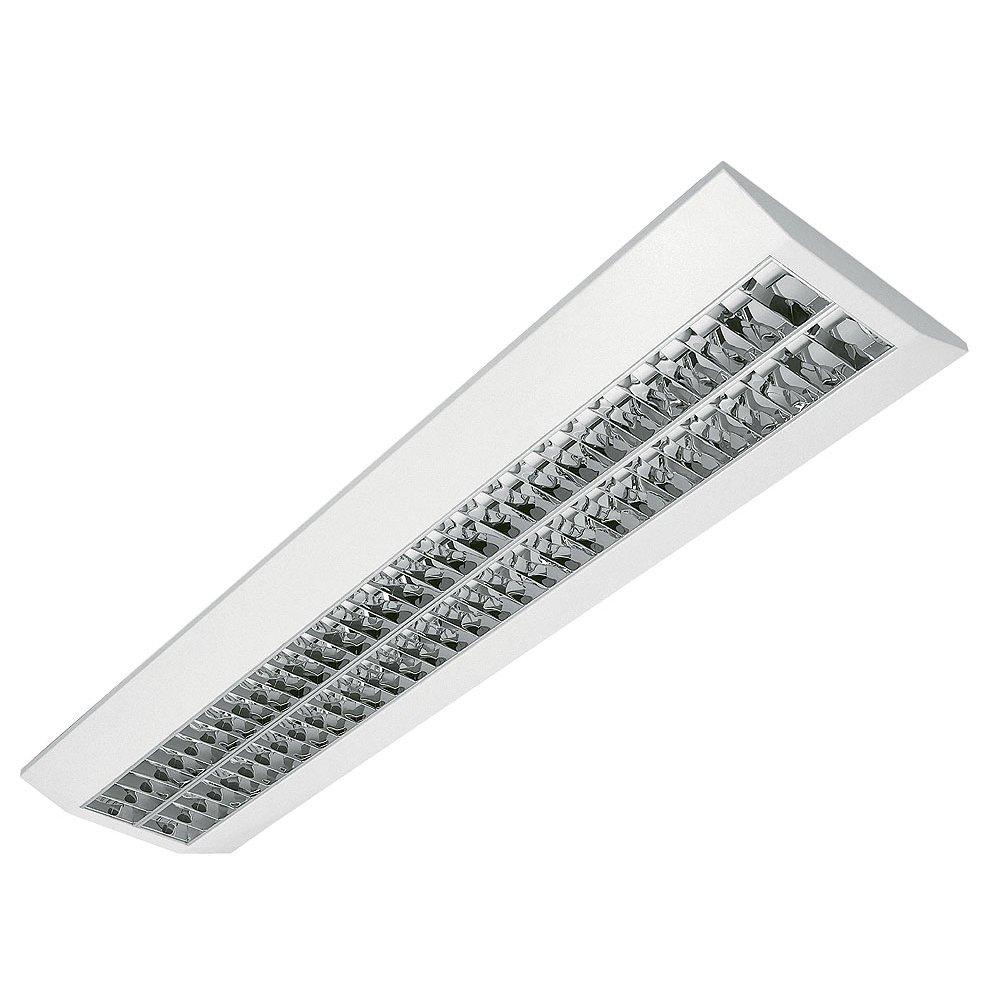 Rasteranbauleuchte, 2x54W, Büroleuchte, Bürolampe, Aufbauleuchte mit Doppelparabolraster (BAP) und elektronischem Vorschaltgerät - Leuchtmittel nicht enthalten Büroleuchte Bürolampe ELG