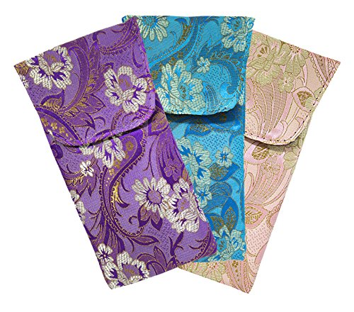 3 Pack Floral Eyeglass Case Top Closure, Slip In Eyeglass Case Soft Fits Medium To Large Glasses, Women by Ron's Optical (Image #6)