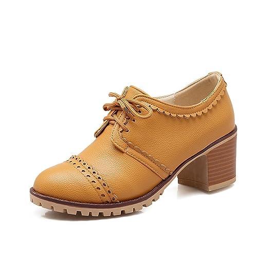 f62fffe0d9ab Susanny Classic Retro Pu Oxfords Brogue Shoes Women's Mid-Heel Wingtip Lace  Up Dress Shoes