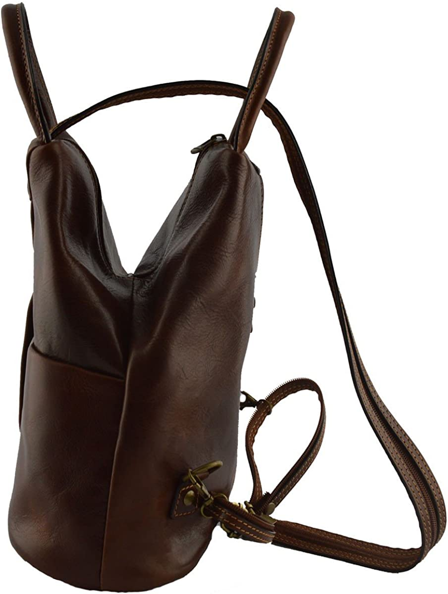 Backpack for Woman in Genuine Leather with Adjustable Straps Color Black