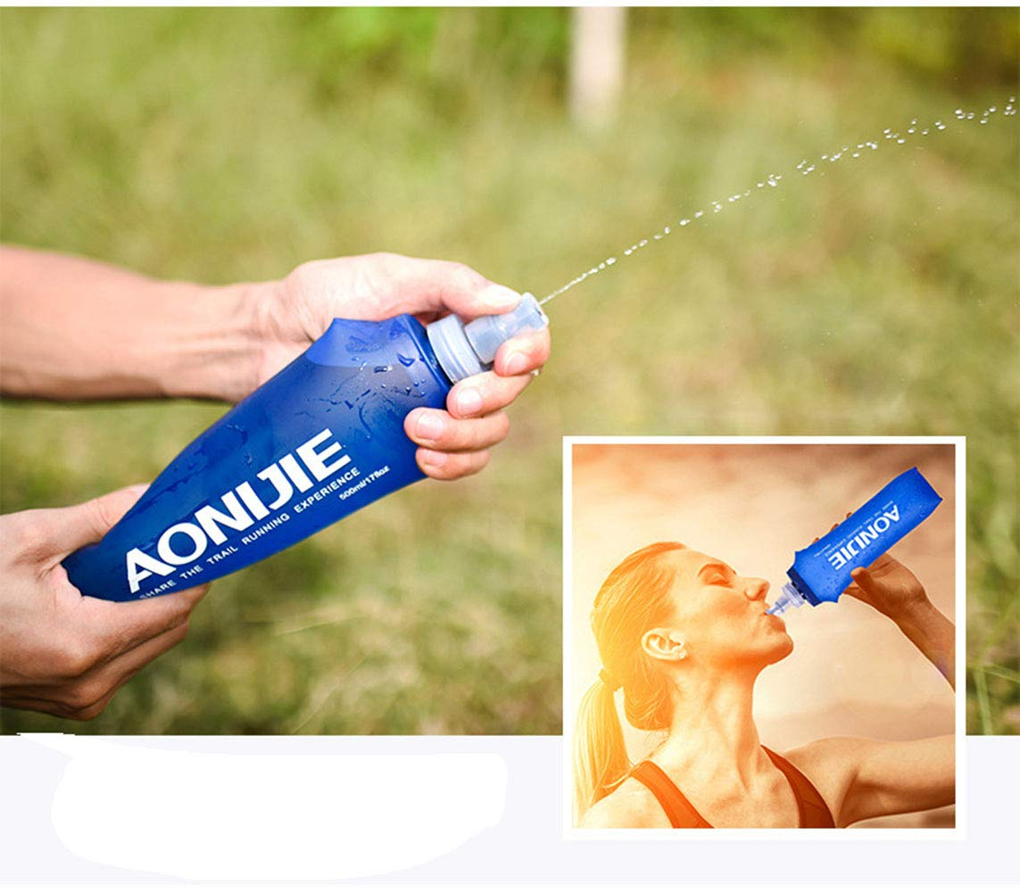 AONIJIE Pack 2 TPU Soft Hydration Water Bottle BPA-Free Collapsible Flask-Use in Hydration Vest for Marathon Running Hiking Cycling