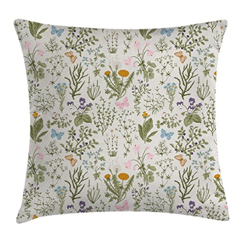 Floral Throw Pillow Cushion Cover by Ambesonne, Vintage Garden Plants with Herbs Flowers Botanical Classic Design, Decorative Square Accent Pillow Case, 16 X 16 Inches, Beige Reseda Green Pink Blue