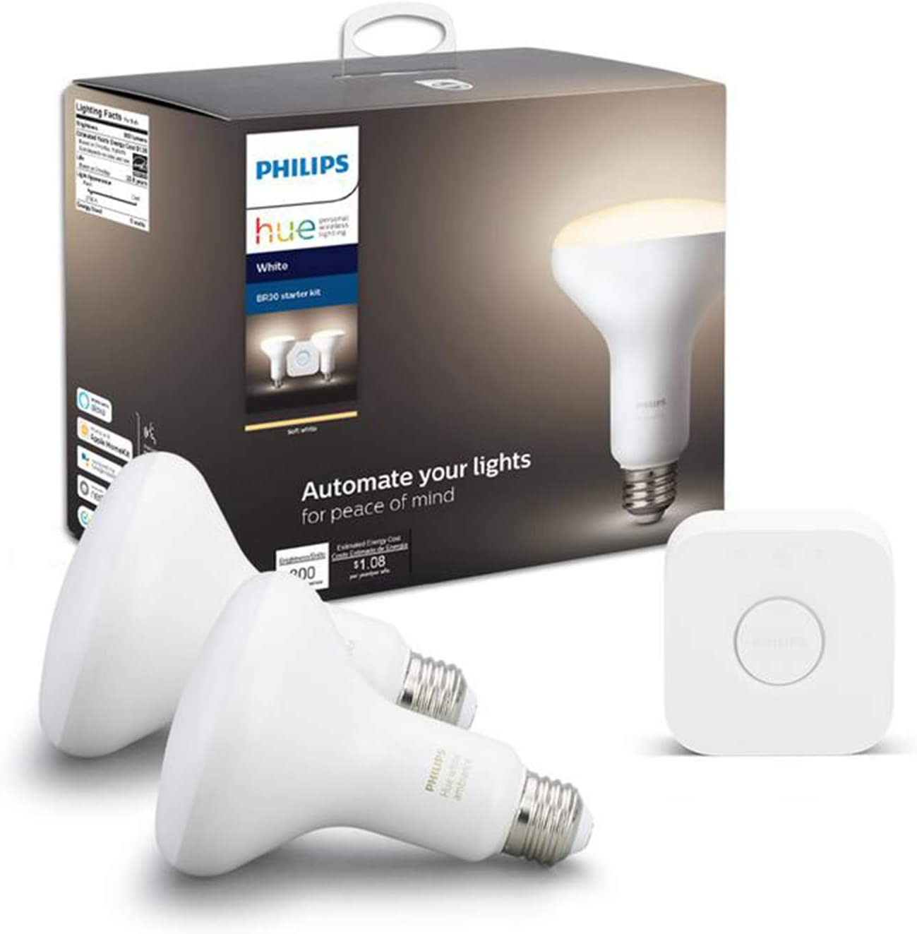 Philips Hue Dimmable White BR30 Starter Kit (Dimmable Only, Compatible with Alexa, Apple HomeKit, Google Home)