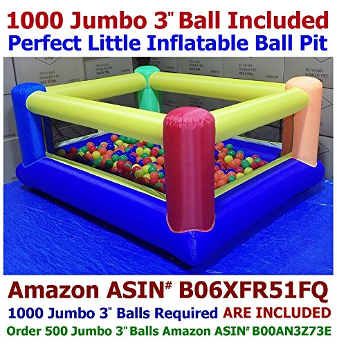 BALLS INCLUDED - My Bouncer Perfect Little Ball Pit Great for Indoor Use - Inflatable to 84 L x 72 W x 40 H w/ Blower Pump ( 1000 Jumbo 3 Balls Included )